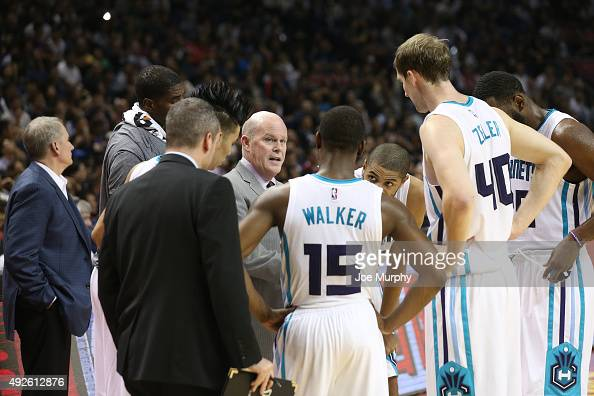 Head Coach Steve Clifford of the Charlotte Hornets during the timeout against the Los Angeles Clippers as part of the 2015 NBA Global Games China at...