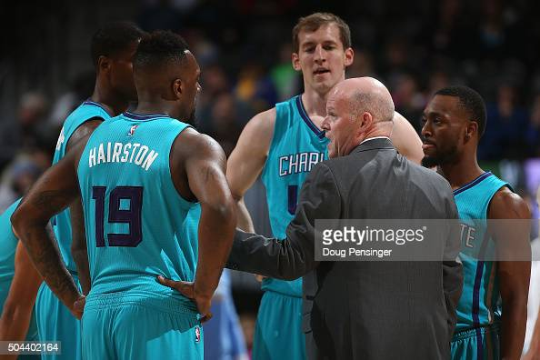 Head coach Steve Clifford of the Charlotte Hornets leads his team against the Denver Nuggets at Pepsi Center on January 10 2016 in Denver Colorado