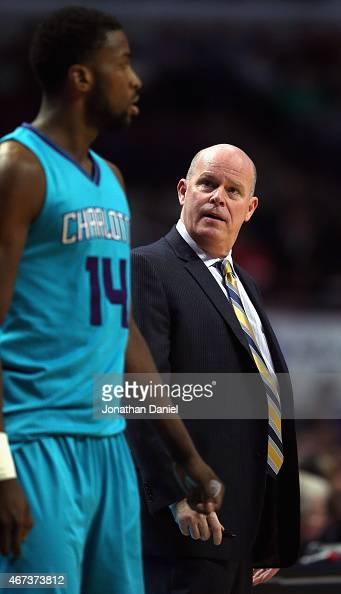 Head coach Steve Clifford of the Charlotte Hornets looks at Michael KiddGilchrist after taking him out of the game against the Chicago Bulls at the...