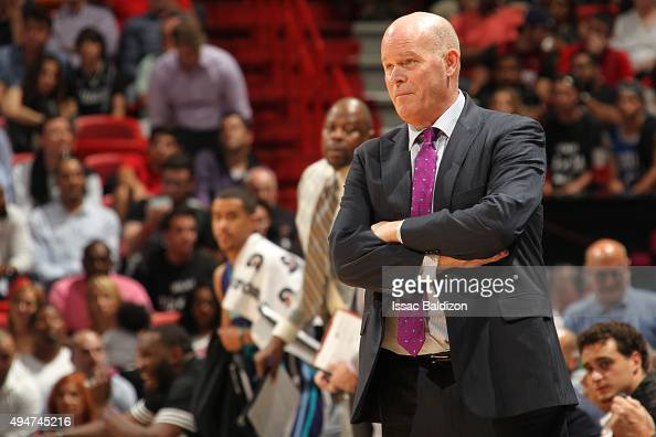 Head Coach Steve Clifford of the Charlotte Hornets looks on during the game against the Miami Heat on October 28 2015 at AmericanAirlines Arena in...