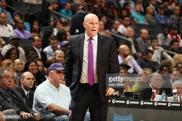 Head coach Steve Clifford of the Charlotte Hornets looks on during the game against the Miami Heat on December 9 2015 at Time Warner Cable Arena in...