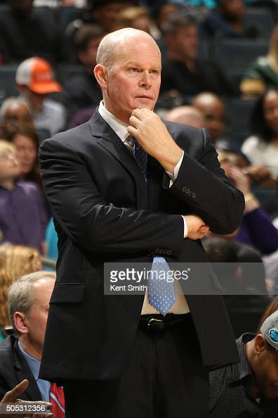 Head coach Steve Clifford of the Charlotte Hornets looks on during the game against the Milwaukee Bucks on January 16 2016 at Time Warner Cable Arena...
