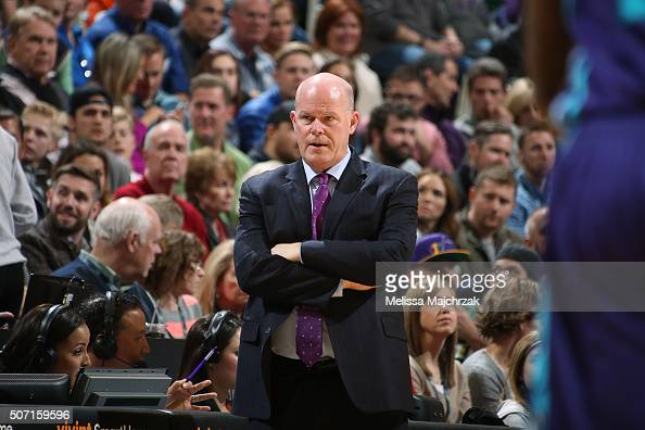 Head Coach Steve Clifford of the Charlotte Hornets looks on during the game against the Utah Jazz on January 27 2016 at vivintSmartHome Arena in Salt...