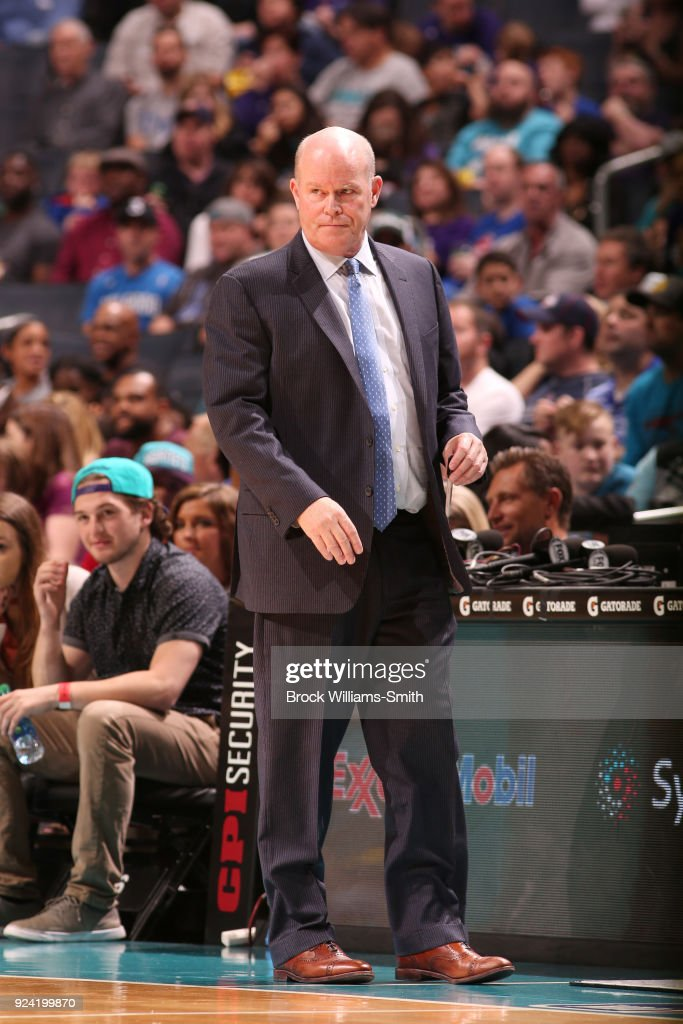 Head Coach Steve Clifford of the Charlotte Hornets looks on during the game against the Detroit Pistons on February 25, 2018 at Spectrum Center in Charlotte, North Carolina.