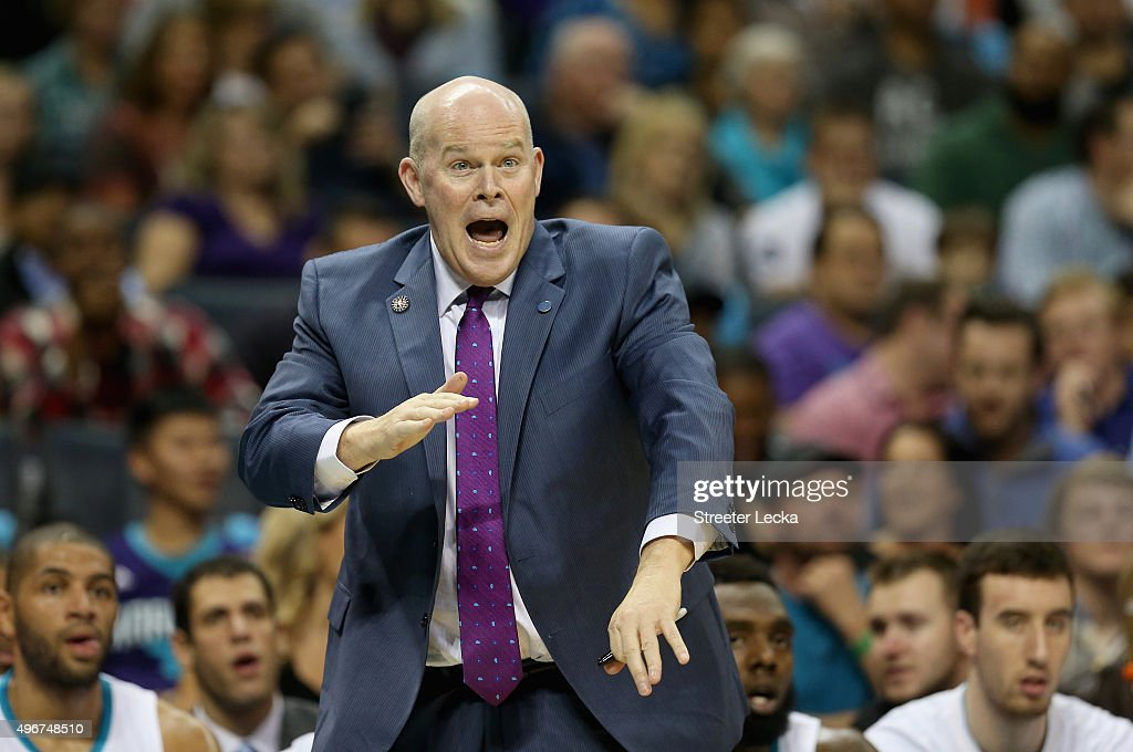Head coach Steve Clifford of the Charlotte Hornets reacts after a play during their game against the New York Knicks at Time Warner Cable Arena on November 11, 2015 in Charlotte, North Carolina.