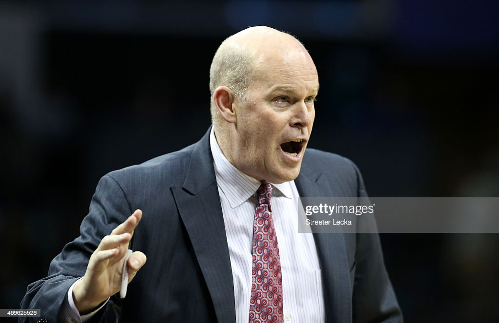 Head coach Steve Clifford of the Charlotte Hornets reacts against the Houston Rockets during their game at Time Warner Cable Arena on April 13, 2015 in Charlotte, North Carolina.