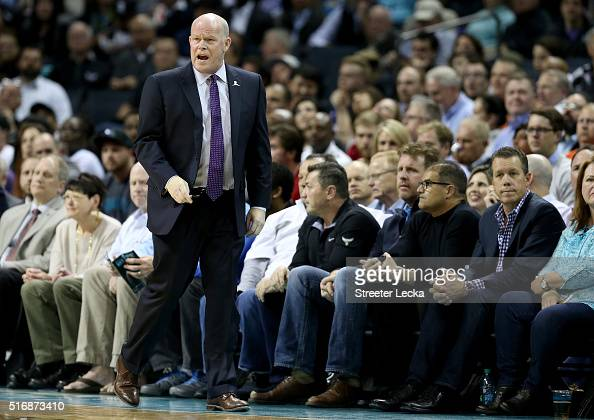 Head coach Steve Clifford of the Charlotte Hornets reacts during their game against the San Antonio Spurs at Time Warner Cable Arena on March 21 2016...