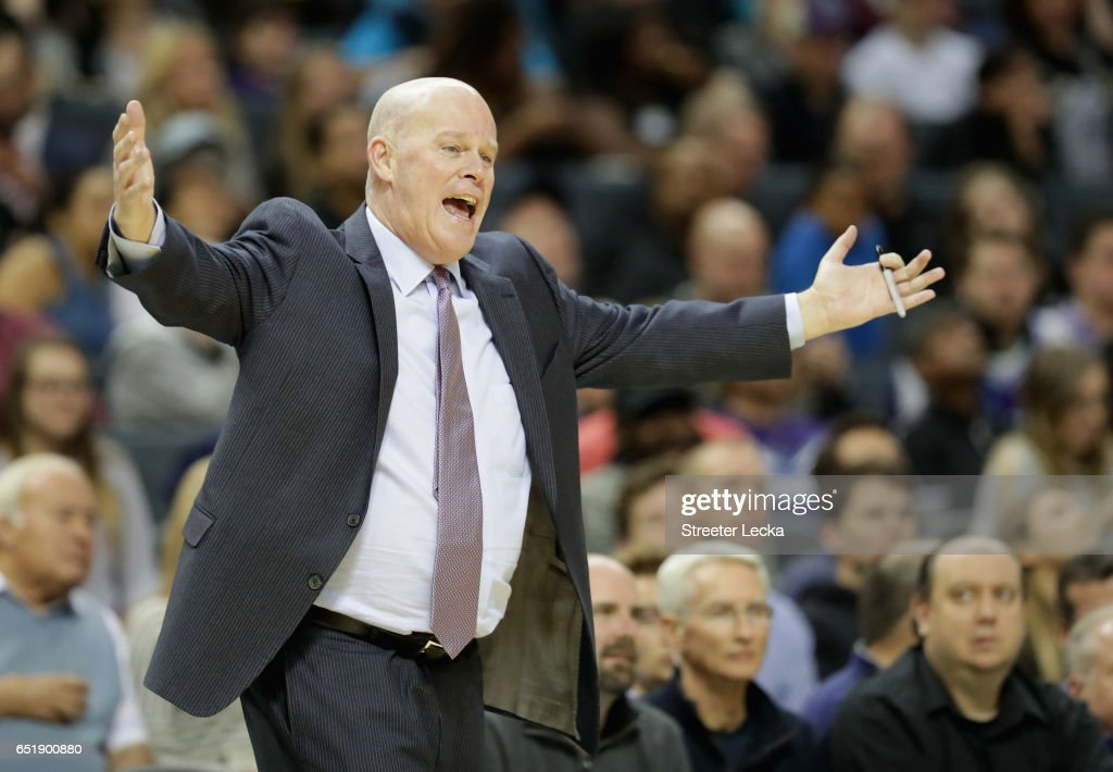 Head coach Steve Clifford of the Charlotte Hornets reacts during their game against the Orlando Magic at Spectrum Center on March 10, 2017 in Charlotte, North Carolina.
