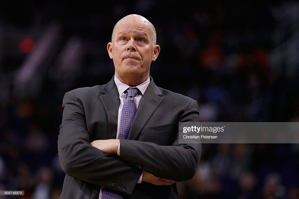 Head coach Steve Clifford of the Charlotte Hornets reacts on the sidelines during the second half of the NBA game against the Phoenix Suns at Talking Stick Resort Arena on January 6, 2016 in Phoenix, Arizona. The Suns defeated the Hornets 111-102.