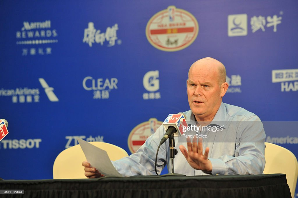 Head Coach Steve Clifford of the Charlotte Hornets speaks to the media as part of the 2015 NBA Global Games China at the Shenzhen Universiade Center...