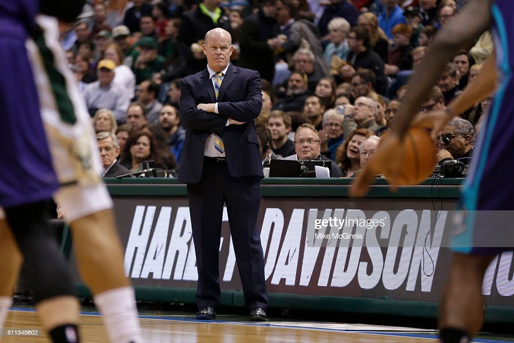 Head Coach Steve Clifford of the Charlotte Hornets stands on the sidelines during the first quarter against the Milwaukee Bucks at BMO Harris Bradley...