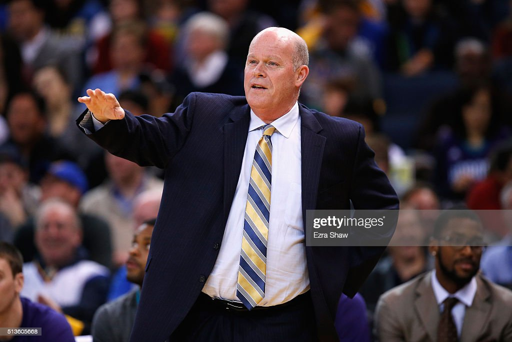 Head coach Steve Clifford of the Charlotte Hornets stands on the side of the court during their game against the Golden State Warriors at ORACLE...