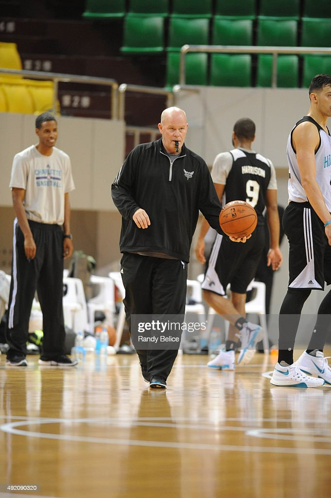 Head Coach Steve Clifford of the Charlotte Hornets takes in practice as part of the 2015 Global Games China at the Shenzhen City Arena on October 10, 2015 in Shenzhen, China.