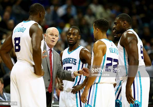 Head coach Steve Clifford of the Charlotte Hornets talks to his team during their game against the Portland Trail Blazers at Time Warner Cable Arena...