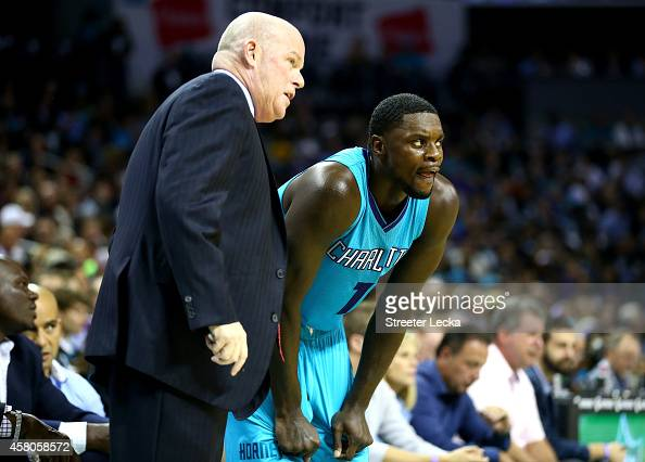 Head coach Steve Clifford talks to his player Lance Stephenson of the Charlotte Hornets during their game against the Milwaukee Bucks at Time Warner...