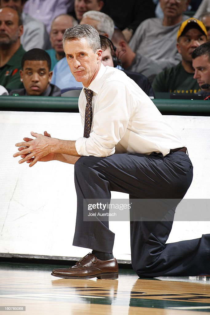 Head coach Steve Donahue of the Boston College Eagles looks on during second half action against the Miami Hurricanes on February 5, 2013 at the BankUnited Center in Coral Gables, Florida. The Hurricanes defeated the Eagles 72-50.