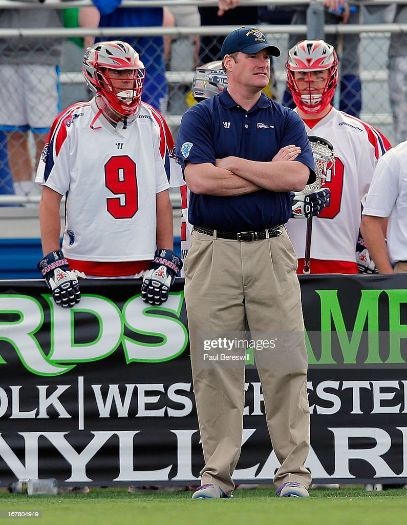 Head Coach Steve Duffey of the Boston Cannons is shown during a Major League Lacrosse game against the New York Lizards at James M. Shuart Stadium on April 28, 2013 in Hempstead, New York.