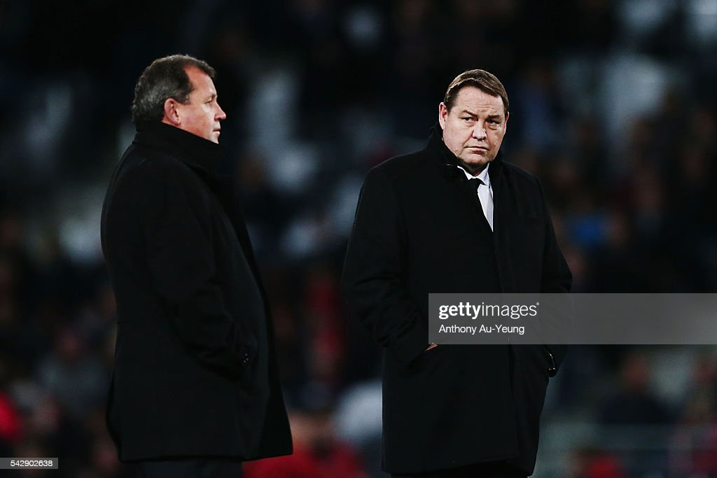 Head Coach <a gi-track='captionPersonalityLinkClicked' href=/galleries/search?phrase=Steve+Hansen&family=editorial&specificpeople=228915 ng-click='$event.stopPropagation()'>Steve Hansen</a> of New Zealand looks on prior to the International Test match between the New Zealand All Blacks and Wales at Forsyth Barr Stadium on June 25, 2016 in Dunedin, New Zealand.