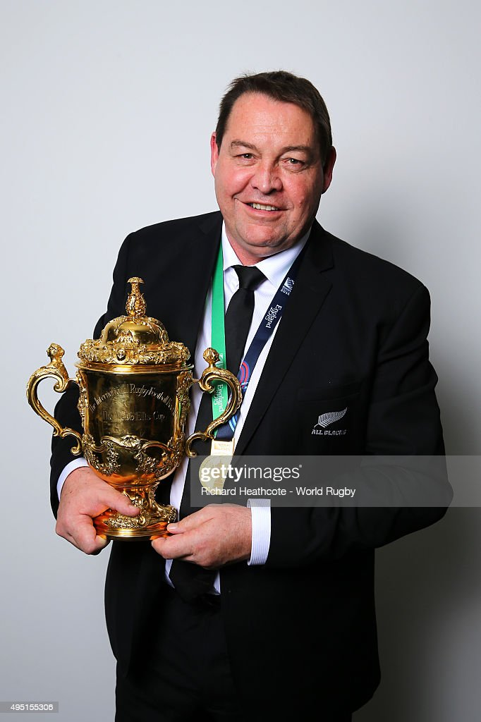 Head Coach Steve Hansen of the New Zealand All Blacks poses with the Webb Ellis Cup after the 2015 Rugby World Cup Final match between New Zealand and Australia at Twickenham Stadium on October 31, 2015 in London, United Kingdom.