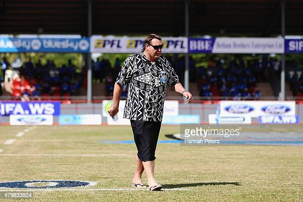 Head coach Steve Hansen of the New Zealand All Blacks walks from the field prior to the International Test match between Samoa and the New Zealand...