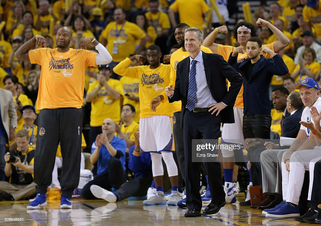 Head coach Steve Kerr of the Golden State Warriors and the Warriors' bench reacts during their game against the Portland Trail Blazers during Game One of the Western Conference Semifinals for the 2016 NBA Playoffs at ORACLE Arena on May 01, 2016 in Oakland, California.
