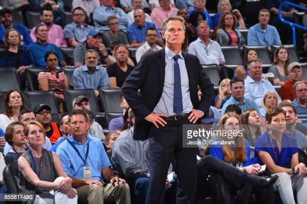 Head Coach Steve Kerr of the Golden State Warriors looks on against the Oklahoma City Thunder during the game on March 20 2017 at Chesapeake Energy...