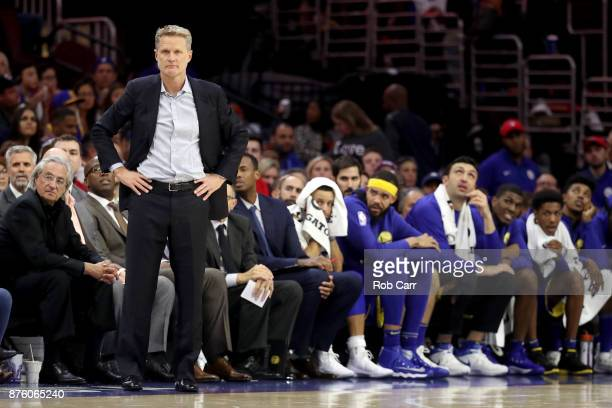 Head coach Steve Kerr of the Golden State Warriors looks on against the Philadelphia 76ers in the second half at Wells Fargo Center on November 18...