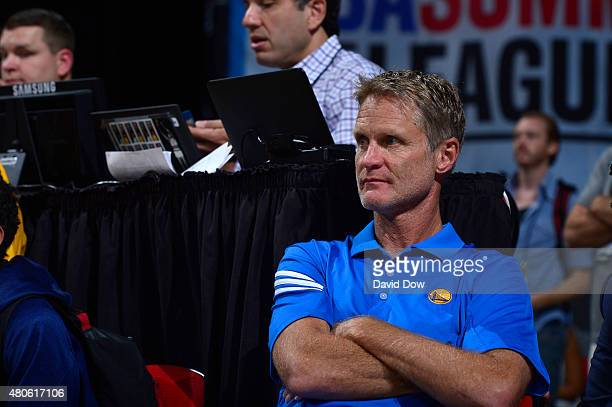 Head Coach Steve Kerr of the Golden State Warriors looks on during the game against the Sacramento Kings on July 13 2015 at the Thomas Mack Center in...