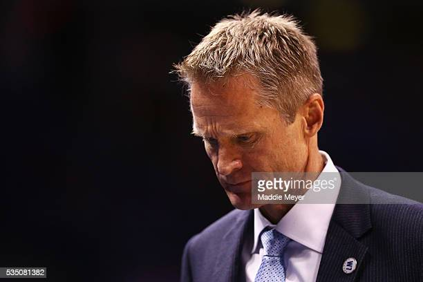 Head coach Steve Kerr of the Golden State Warriors looks on during the first half against the Oklahoma City Thunder in game six of the Western...