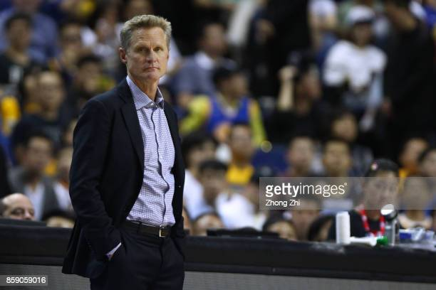 Head coach Steve Kerr of the Golden State Warriors looks on during the game between the Minnesota Timberwolves and the Golden State Warriors as part...
