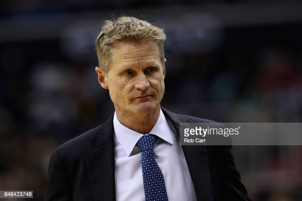 Head coach Steve Kerr of the Golden State Warriors looks on in the first half against the Washington Wizards at Verizon Center on February 28 2017 in...