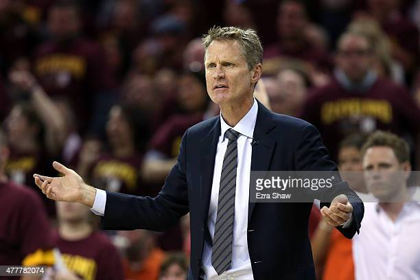 Head coach Steve Kerr of the Golden State Warriors reacts against the Cleveland Cavaliers during Game Six of the 2015 NBA Finals at Quicken Loans...