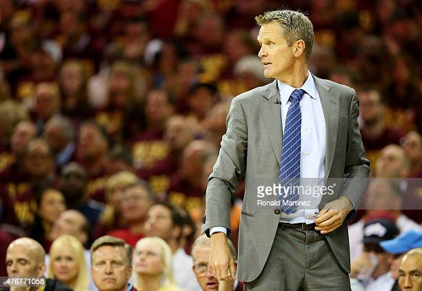 Head coach Steve Kerr of the Golden State Warriors reacts in the first quarter against the Cleveland Cavaliers during Game Four of the 2015 NBA...