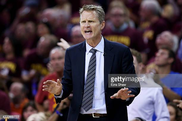 Head coach Steve Kerr of the Golden State Warriors reacts in the second quarter against the Cleveland Cavaliers during Game Six of the 2015 NBA...