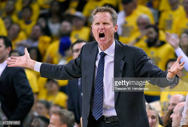 Head coach Steve Kerr of the Golden State Warriors reacts to a call that went against the Warriors while playing the Memphis Grizzlies in the second...