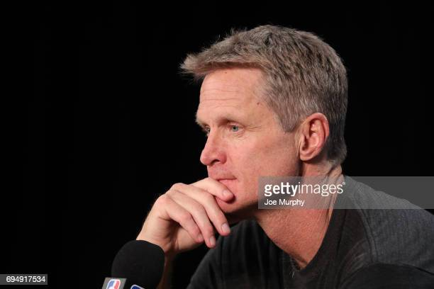 Head Coach Steve Kerr of the Golden State Warriors speaks to the media during media availability as part of the 2017 NBA Finals on June 11 2017 at...