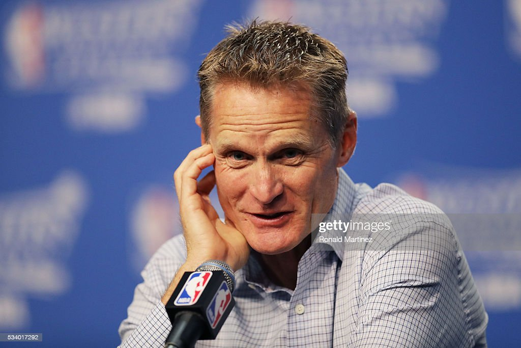 Head coach <a gi-track='captionPersonalityLinkClicked' href=/galleries/search?phrase=Steve+Kerr&family=editorial&specificpeople=238967 ng-click='$event.stopPropagation()'>Steve Kerr</a> of the Golden State Warriors speaks to the media prior to game four of the Western Conference Finals against the Oklahoma City Thunder during the 2016 NBA Playoffs at Chesapeake Energy Arena on May 24, 2016 in Oklahoma City, Oklahoma.