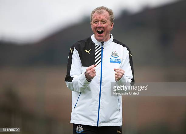 Head coach Steve McClaren of Newcastle United celebrates during a Newcastle United Training session at the the Newcastle United training camp on...