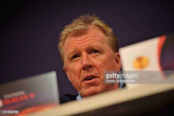 Head coach Steve McClaren of Twente looks on during a press conference ahead of their UEFA Europa League round of 16 second leg match against FC...