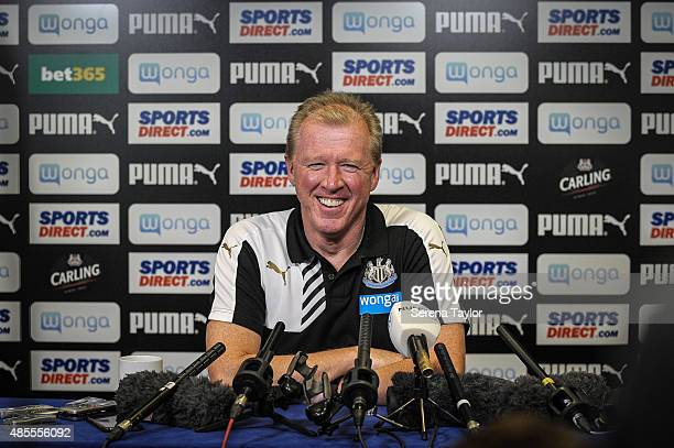 Head coach Steve McClaren sits for the media during the press conference after the Newcastle United Training session at The Newcastle United Training...