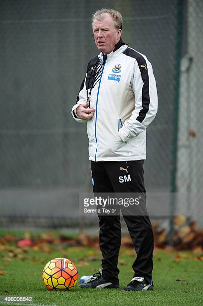 Head Coach Steve McClaren stand on the pitch during the Newcastle United Training session at The Newcastle United Training Centre on November 6 in...