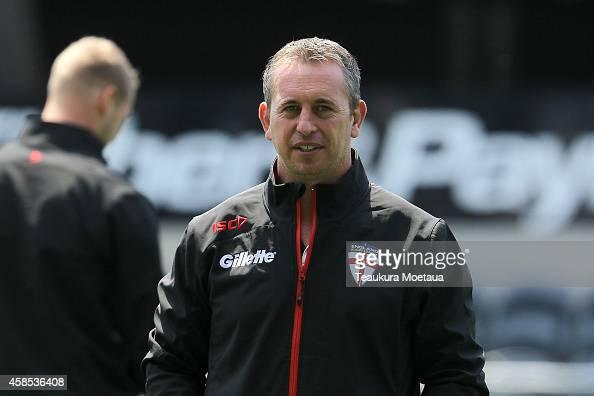 Head Coach Steve McNamara looks on during an England training session at Forsyth Barr Stadium on November 7 2014 in Dunedin New Zealand