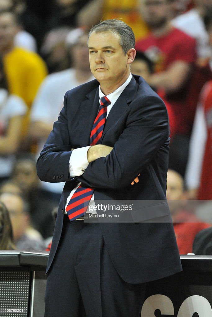 Head coach Steve Pikiell of the Stony Brook Seawolfs looks on during a college basketball game against the Maryland Terrapins on December 21, 2012 at the Comcast Center in College Park, Maryland.