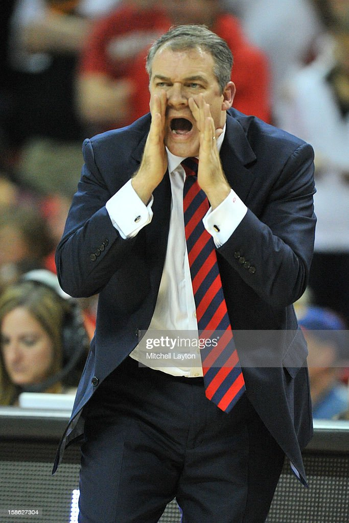Head coach Steve Pikiell of the Stony Brook Seawolves calls to his players during a college basketball game against the Maryland Terrapins on December 21, 2012 at the Comcast Center in College Park, Maryland.
