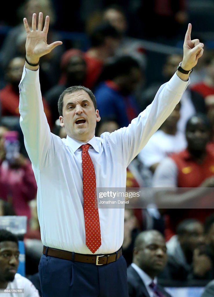 Head coach Steve Prohm of the Iowa State Cyclones calls out instructions in the second half against the Nevada Wolf Pack during the first round of the 2017 NCAA Men's Basketball Tournament at BMO Harris Bradley Center on March 16, 2017 in Milwaukee, Wisconsin.