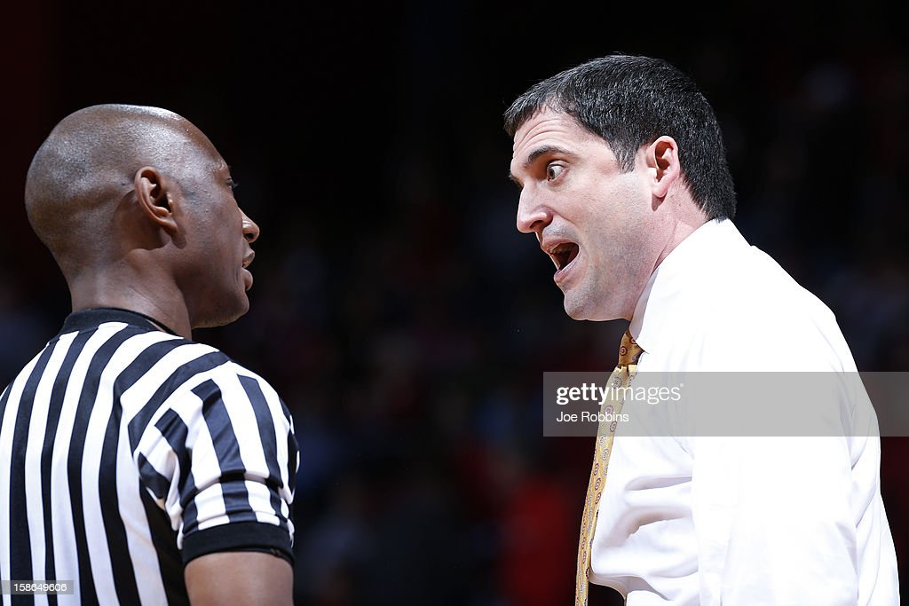 Head coach Steve Prohm of the Murray State Racers argues with an official during the game against the Dayton Flyers at University of Dayton Arena on December 22, 2012 in Dayton, Ohio. The Flyers won 77-68.