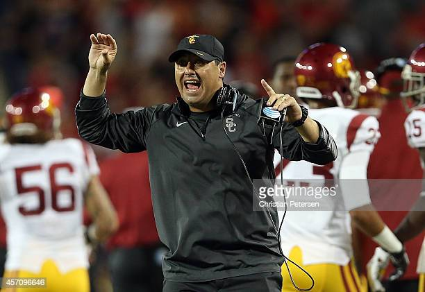 Head coach Steve Sarkisian of the USC Trojans reacts on the sidelines after the Trojans stopped a twopoint conversion attempt by the Arizona Wildcats...