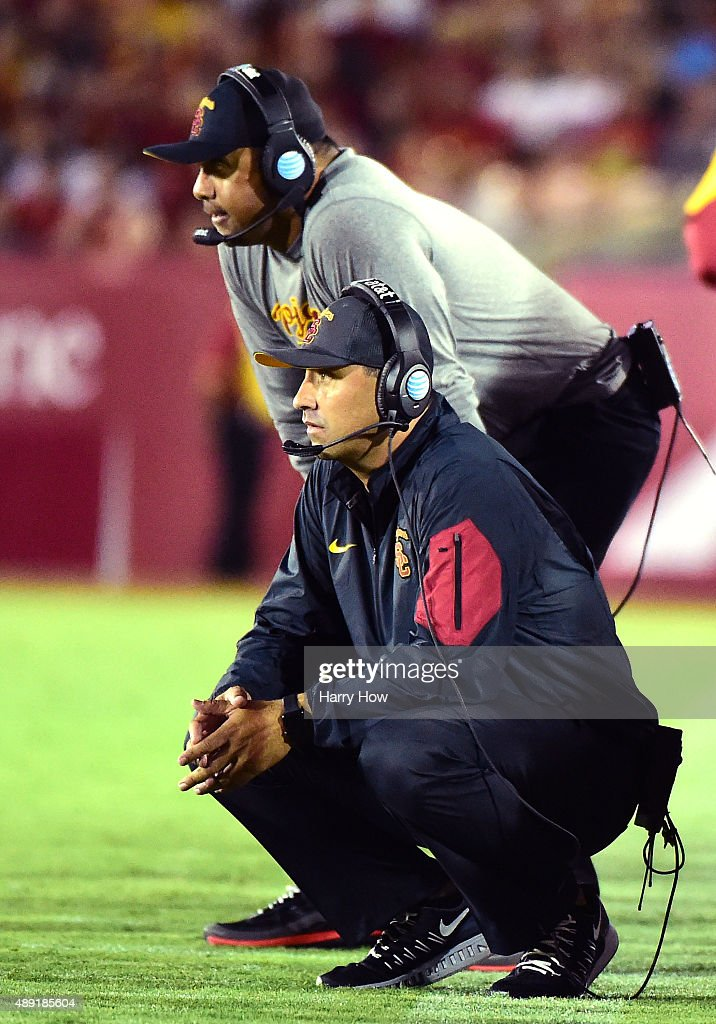 Head coach Steve Sarkisian of the USC Trojans watches a play against the Arkansas State Red Wolves at Los Angeles Coliseum on September 5, 2015 in Los Angeles, California.
