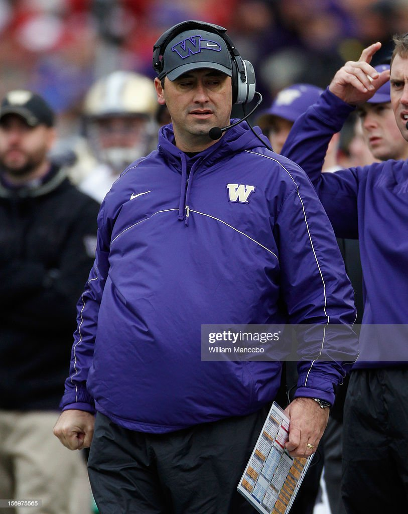 Head coach Steve Sarkisian of the Washington Huskies on the sidelines during the Apple Cup game against the Washington State Cougars at Martin Stadium on November 23, 2012 in Pullman, Washington.