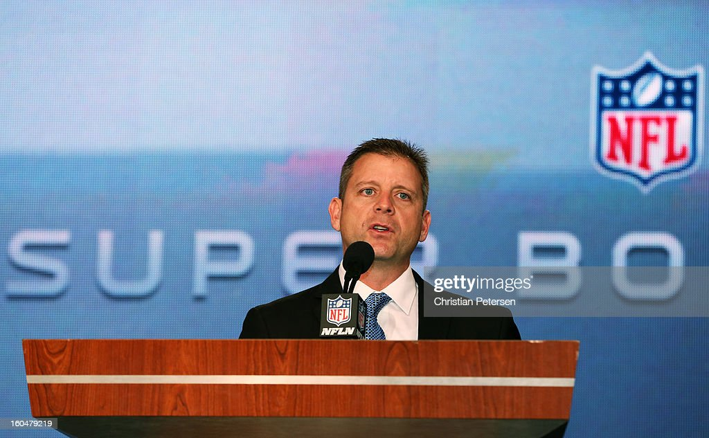Head Coach Steve Specht of St. Xavier High School in Cincinnati is awarded the Don Shula High School Coach of the Year Award during a press conference for Super Bowl XLVII at the Ernest N. Morial Convention Center on February 1, 2013 in New Orleans, Louisiana.